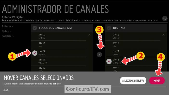 Mover canales LG webOS 2.0